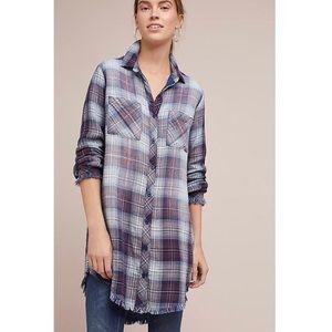 Cloth & Stone Plaid Raw-Edge High-low Dress, M
